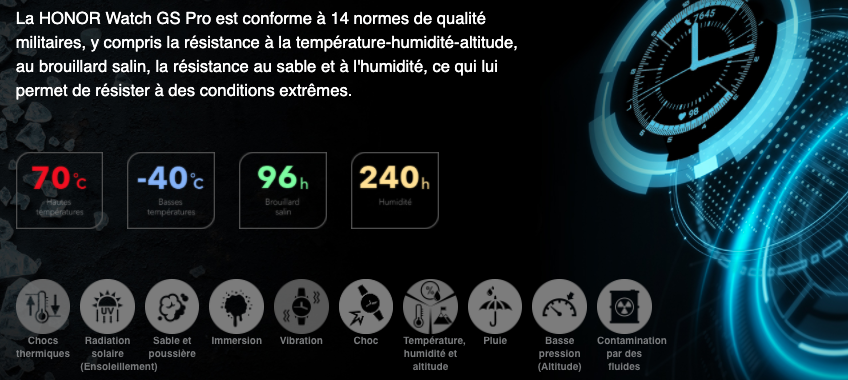 Montre GPS HONOR Magic Watch 2 - Certifications Militaires
